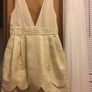Gold & White Damask & Chiffon Cocktail Dress